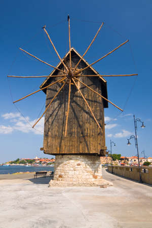 Old mill on the entrance of old Bulgarian town Nessebar  photo
