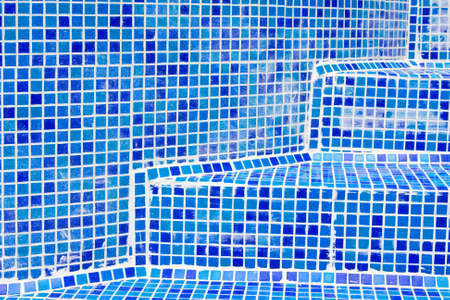 Blue dirty tiles in Bathroom With Water Drops  photo