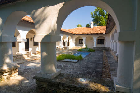 balchik: Courtyard with swimming pool, Gardens in Balchik, Bulgaria Editorial