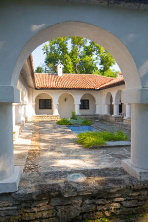 balchik: Courtyard with swimming pool, Gardens in Balchik, Bulgaria Editorial