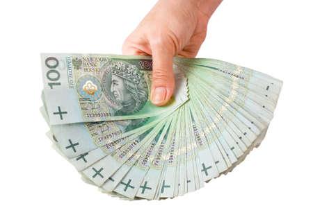 slump: Hand with money isolated on white background  Stock Photo