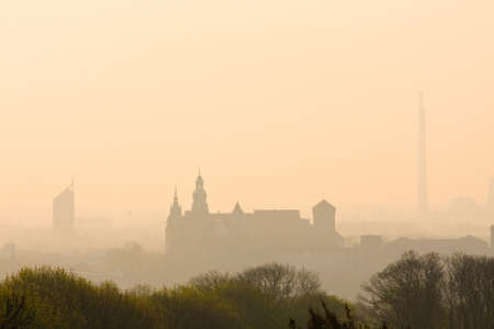 Poland, Krakow, sunrise over Wawel hill