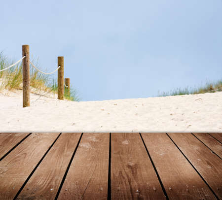 Beach and empty wooden deck table  Ready for product montage display Stock Photo - 22671035