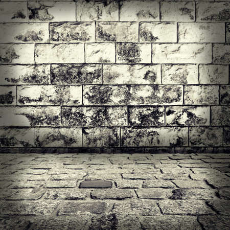 brick road: grunge background, red brick wall texture bright plaster wall and blocks road sidewalk abandoned exterior urban background for your concept or project