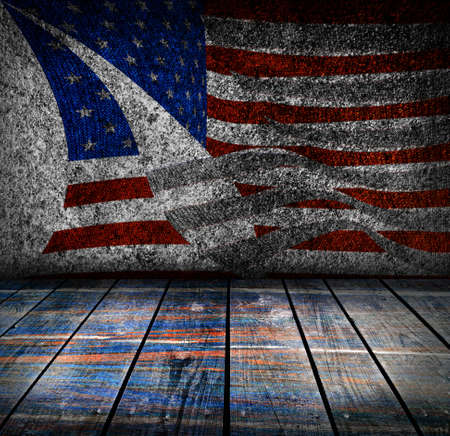 empty interior room with american flag colors ready for product montage  photo