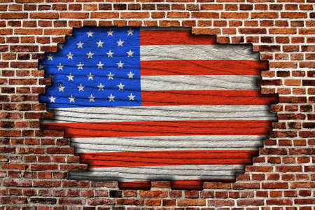 American flag on old brick wall Texture or background  photo