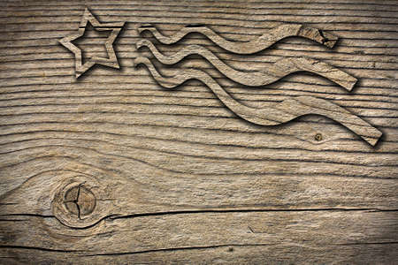 christmas star on wooden board photo