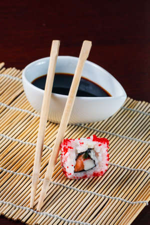 traditional fresh japanese sushi rolls photo