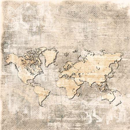 vintage world map: grunge map of the world  Stock Photo