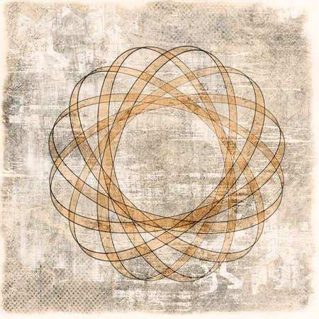atomic nucleus: Grunge sepia background with atomic nucleus Stock Photo