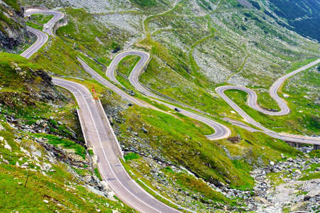 rocky road: Transfagarasan mountain road, Romanian Carpathians  Stock Photo