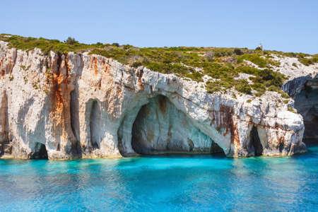 Beautiful blue caves on Zakynthos island, Greece  photo