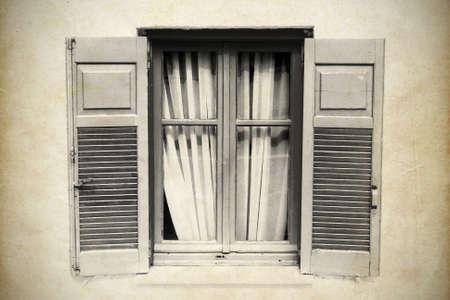 Old wooden window photo