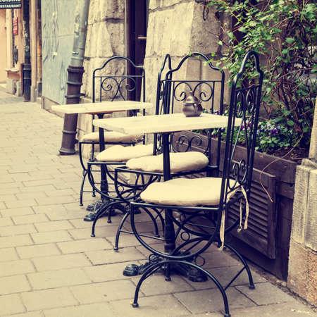 nook: Vintage outdoor restaurant Stock Photo