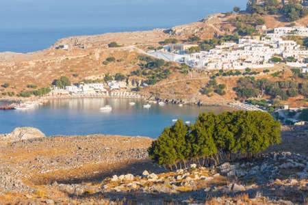 lindos: Panorama of Lindos. Rhodes, Greece.