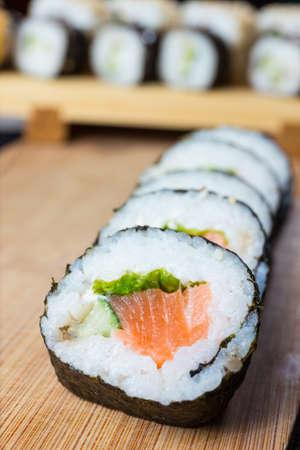Close up of sushi, Japanese seafood Stock Photo