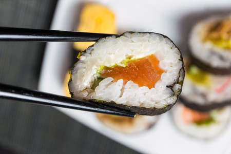Close up of sushi, Japanese seafood photo
