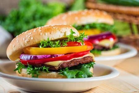 homemade hamburger with fresh vegetables, close up photo