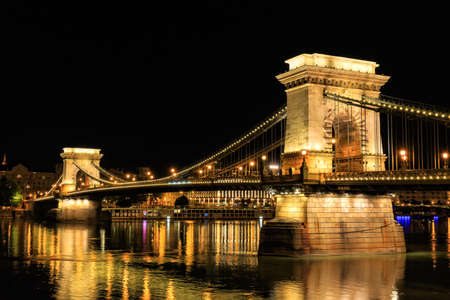 Chain Bridge, Budapest. Night view photo