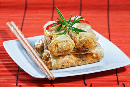fried spring rolls on red bamboo mat photo
