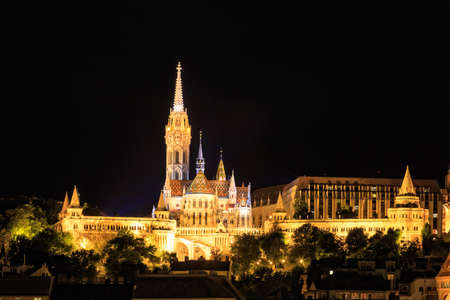 matthias: Night View with Matthias Church in Budapest, Hungary