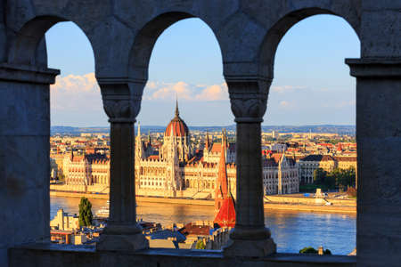 Hungarian Parliament Building in Budapest, View from Fishermans Bastion photo