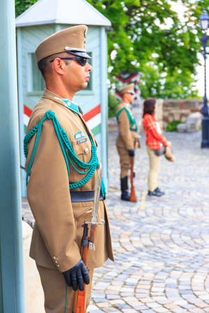 BUDAPEST, HUNGARY - JULY 24, 2014 : Ceremonial guard at the Presidential Palace. They guard the entrance of the Presidents office in the Sandor Palace, Budapest