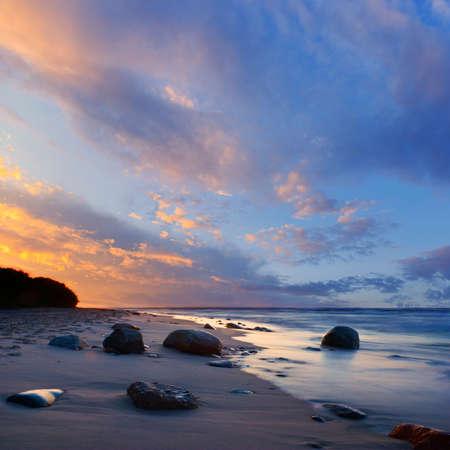 beautiful tropical sunset sky and sea photo