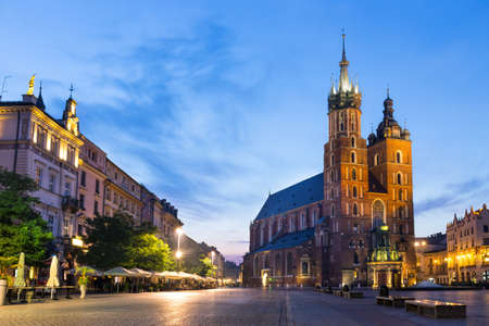 St. Marys Church at night in Krakow, Poland.