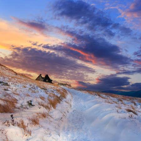 Winter mountain landscape and beautiful sunset photo