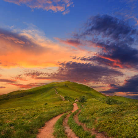 Summer mountain landscape and beautiful sunset photo