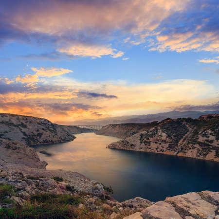 Maslenica Strait and beautiful sunset, north of Zadar, Croatia photo