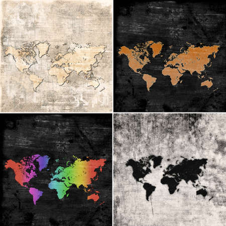 set of grunge maps of the world photo