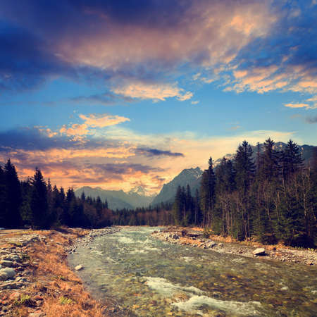 Bielovodska valley in High Tatras, Slovakia, vintage look photo