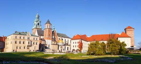 KRAKOW, POLAND - November 02: People visit Royal Wawel Castle in Krakow on november 02, 2014. Krakow is most famous city to visit in Poland