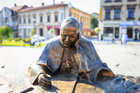 Wadowice, Poland - September 07, 2014: Sculpture of Pope John Paul II in the city center of Wadowice, the place of birth of Pope John Paul II