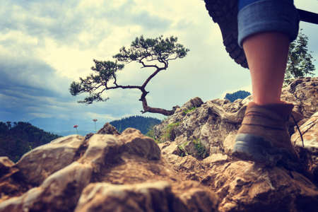 legs of a woman tourist on a mountain top photo