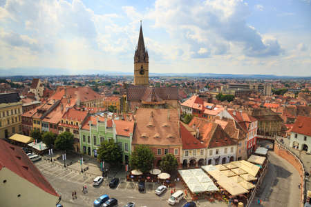 Sibiu, Romania - July 19, 2014: Old Town Square in the historical center of Sibiu was built in the 14th century, Romania