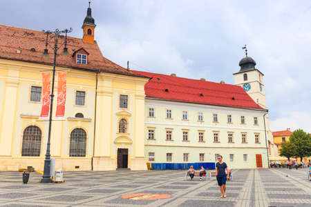 14th century: Sibiu, Romania - July 19, 2014: Old Town Square in the historical center of Sibiu was built in the 14th century, Romania