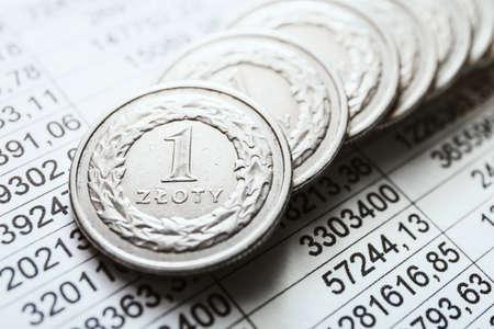 lien: Polish zloty coins, close up