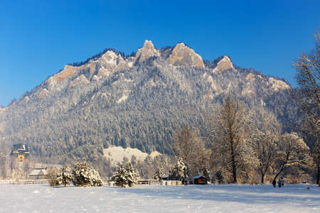 Winter landscape in Pieniny Mountains, Three Crowns, Poland photo