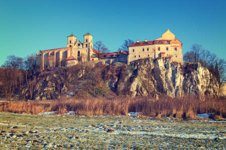 cracow: Benedictine monastery in Tyniec near Cracow, Poland. Vintage color tone