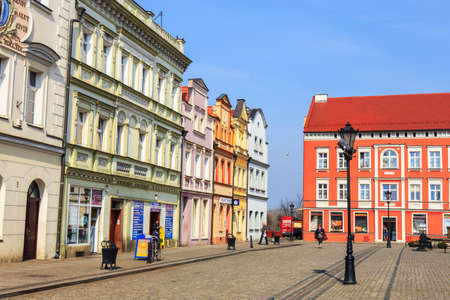 apartment tower old town: Bytom Odrzanski, POLAND - March 25, 2015: Historical center of Bytom Odrzanski, Poland on March 25, 2015. Bytom Odrzanski is a town on the Oder river in western Poland, in Nowa Sol County of Lubusz Voivodeship. Editorial