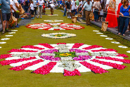 La Orotava, Tenerife, Spain - June 11, 2015: The celebration of Corpus Christi is one of the most deeply-rooted traditions in Tenerife. Editorial