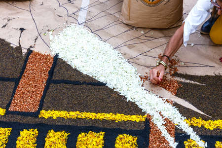 La Orotava, Tenerife, Spain - June 11, 2015: The celebration of Corpus Christi is one of the most deeply-rooted traditions in Tenerife. Редакционное