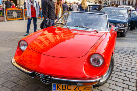 romeo: KRAKOW, POLAND - MAY 15, 2015: Classic old cars on the rally of vintage cars in Krakow, Poland