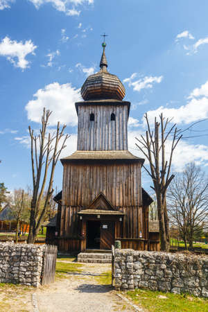 ethnography: Old log church in an open-air ethnography museum in Wygielzow, Poland