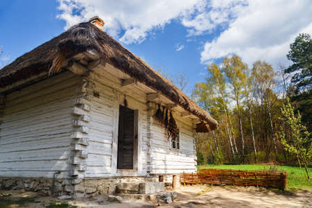 ethnography: Old log hause in an open-air ethnography museum in Wygielzow, Poland Editorial