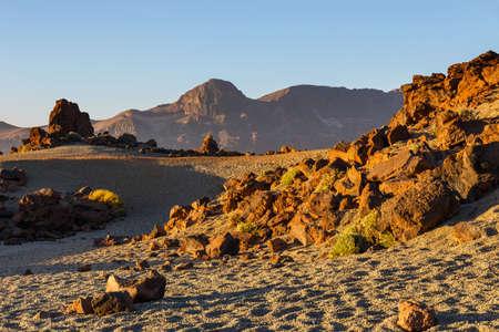 stratovolcano: sunrise in the caldera of El Teide Volcano, Tenerife, Spain