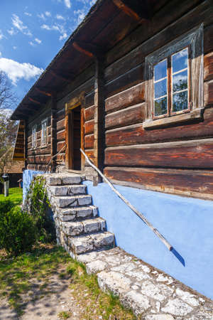 ethnography: Old log hause in an open-air ethnography museum in Wygielzow, Poland Stock Photo